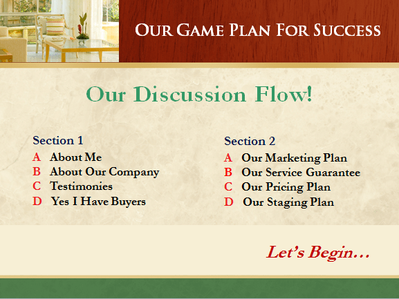 Listing presentation example and listing presentation example of classic design theme, discussion flow slide