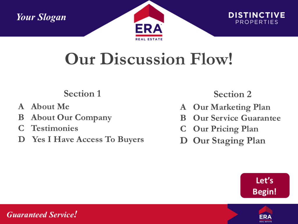 Content Slide Example Of The Bonus ERA Listing Presentation