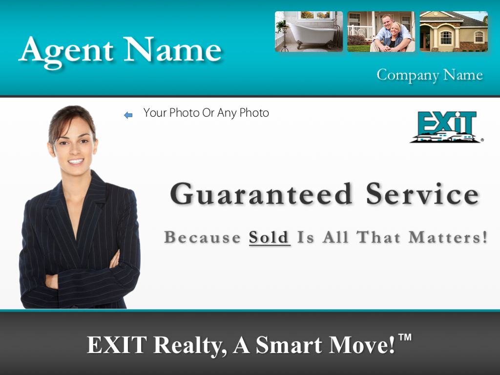 Exit Real Estate Example - An example of the listing presentation cover page in the 'Exit company theme' PowerPoint design.
