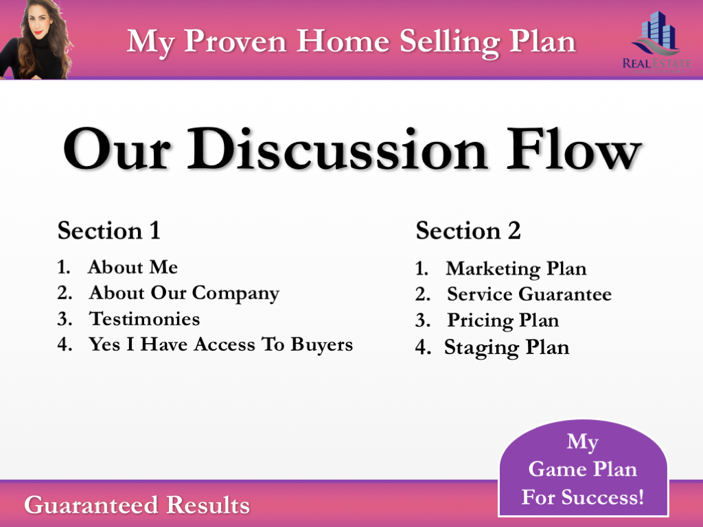 The 'our discussion flow' slide of the Pink branded presentation template.