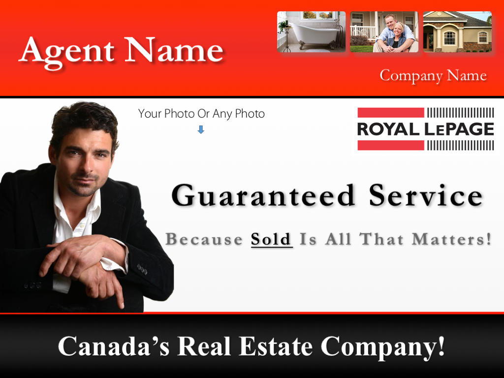 Royal Lepage Example - An example of the listing presentation cover page in the 'Royal LePage company template' PowerPoint design.