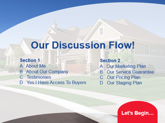 Listing presentation example sold design theme, discussion flow slide