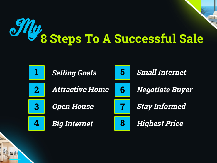 This listing presentation slide goes over the 8-step marketing plan for a successful home sale.