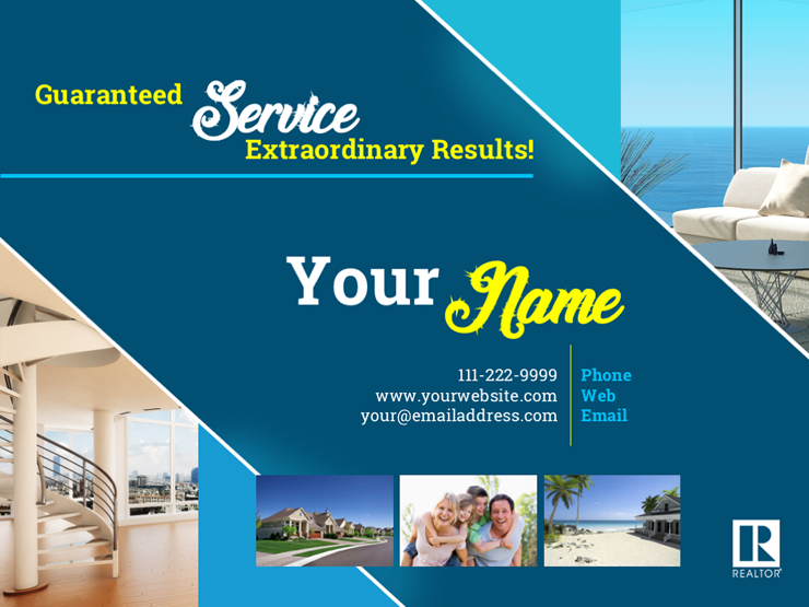 Cover slide of the 'Brilliant Blue' listing presentation example design template for agents