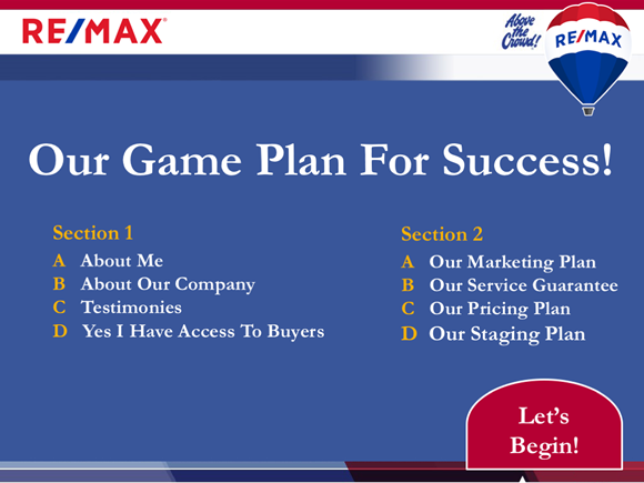 Content Slide Example Of The Bonus RE/MAX Listing Presentation