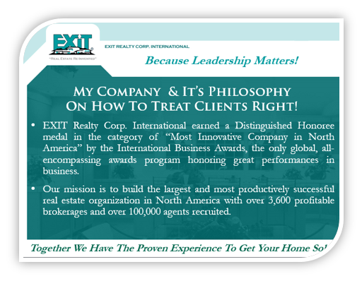 Exit listing presentation 'about my company' page