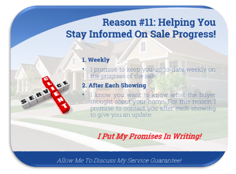 listing presentation slide discussing how agents keep sellers informed on the progress of the sale.